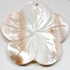 Carved Shell Pendant, Flower, 44mm Hole:1mm, Sold by PC