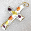 Cloisonne Pendent,Cross, 38x23mm, Sold by PC