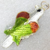 Cloisonne Pendent,Bird, 18x42mm, Sold by PC