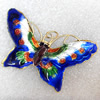 Cloisonne Pendent,Butterfly, 55x33mm, Sold by PC