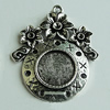 Zinc Alloy Cabochon Settings, 36x30mm Hole:2mm, Sold by Bag