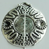 Zinc Alloy Cabochon Settings, Flat Round 31x28mm Hole:2mm, Sold by Bag