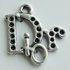 Pendant Setting Zinc Alloy Jewelry Findings Lead-free, Letter 20x17mm Hole:2mm, Sold by Bag