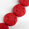 Cinnabar Beads, Flat Round, 22mm, Hole:Approx 2mm, Sold by PC