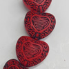 Cinnabar Beads, Heart, 27x24mm, Hole:Approx 2mm, Sold by PC