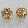 A Rhinestone,Round, 14mm,Hole:Approx 2mm, Sold by Bag