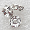 A Rhinestone,Rondelle, 6mm,Hole:Approx 1.5mm, Sold by Bag