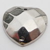 CCB Cabochons With Hole, With Costume or Headwear, Faceted Heart 14mm Hole:1mm, Sold by KG
