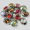 Jewelry findings CCB Plastic Beads with TaiWan Acrylic Crystal, facted Flat Oval, Mixed color, 20x24mm, Sold by Bag