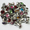 Jewelry findings CCB Plastic Beads with Acrylic Crystal, Mixed color  17x11mm, Sold by Bag