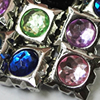 Jewelry findings CCB Plastic Beads with Acrylic Crystal, Mixed color Square 19mm, Sold by Bag