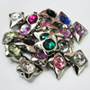 Jewelry findings CCB Plastic Beads with Acrylic Crystal, Mixed color Butterfly 20x25mm, Sold by Bag