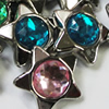 Jewelry findings CCB Plastic Beads with Acrylic Crystal, Mixed color Star 24mm, Sold by Bag