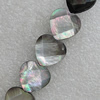Natural Black Shell Beads, Faceted Heart 12mm Hole:1mm, Sold by Strand