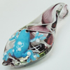 Inner Flower Lampwork Pendant, Leaf with Frog, Approx 30x60mm Hole:About 5mm, Sold by PC