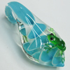Lampwork Pendant, Leaf with Frog, Approx 30x60mm, Sold by PC