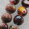 Gold Sand Millefiori Glass Beads, Round 16mm Hole:2mm, Sold per 16-Inch Strand
