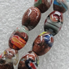 Gold Sand Millefiori Glass Beads, Oval 8x12mm Hole:1mm, Sold per 16-Inch Strand