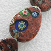 Gold Sand Millefiori Glass Beads, Teardrop 28x20mm Hole:2mm, Sold by Bag