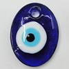 Turkish Handmade Lampwork Glass Evil Eye Pendant, Flat Oval 40x30mm Hole:5mm, Sold by Bag