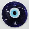 Turkish Handmade Lampwork Glass Evil Eye Pendant, Flat Round 60mm Hole:4.5mm, Sold by Bag