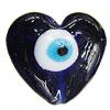 Turkish Handmade Lampwork Glass Evil Eye Beads, Heart 29x32mm Hole:3.5mm, Sold by Bag