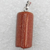 Gold Sand Stone Pendant, 11x25mm, Hole:Approx 2mm, Sold by PC