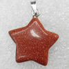 Gold Sand Stone Pendant, Star, 20x22mm, Hole:Approx 2mm, Sold by PC