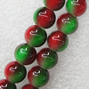 Imitate Gemstone Glass Beads Jade Dyed Beads, Round 14mm Hole:1.5mm, Sold Per 32-Inch Strand