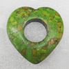 Turquoise Pendant,Heart, 40mm, Hole:Approx 16mm, Sold by PC