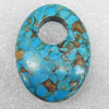Turquoise Pendant,30x40mm, Hole:Approx 12mm, Sold by PC