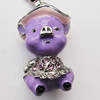 Zinc Alloy Enamel Charm with Crystal, Nickel-free & Lead-free, 16x28mm, Sold by PC