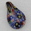 Millefiori Glass Pendants, Leaf 42x25mm Hole:6mm, Sold by PC