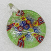 Millefiori Glass Pendants, 43x34mm Hole:3.5mm, Sold by PC