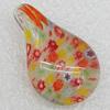 Millefiori Glass Pendants, Leaf 35x21x15mm, Sold by PC