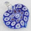 Millefiori Glass Pendants, Heart 55x49.5mm Hole:5mm, Sold by PC