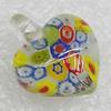 Millefiori Glass Pendants, Heart 21x17mm Hole:3mm, Sold by PC