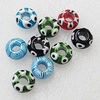Millefiori Glass European, Mix Color, 14x11mm Hole:5mm, Sold by PC