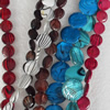 Shell Beads, Flat Round, Mix Colour, 15mm, Hole:Approx 1mm, Length:16-inch, Sold by Group