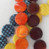 Shell Beads, Flat Round, Mix Colour, 20mm, Hole:Approx 1mm, Length:16-inch, Sold by Group