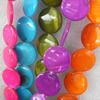 Shell Beads, Flat Round, Mix Colour, 18mm, Hole:Approx 1mm, Length:16-inch, Sold by Group