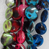 Shell Beads, Flat Round, Mix Colour, 25mm, Hole:Approx 1mm, Length:16-inch, Sold by Group