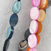 Shell Beads, Flat Oval, Mix Colour, 13x18mm, Hole:Approx 1mm, Length:16-inch, Sold by Group