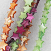 Shell Beads, Star, Mix Colour, 12mm, Hole:Approx 1mm, Length:16-inch, Sold by Group