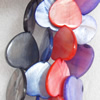 Shell Beads, Heart, Mix Colour, 25mm, Hole:Approx 1mm, Length:16-inch, Sold by Group