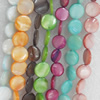 Shell Beads, Flat Round, Mix Colour, 11mm, Hole:Approx 1mm, Length:16-inch, Sold by Group