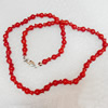 Coral Necklace, width:6mm, Length Approx:17.7-inch, Sold by Strand