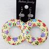 Wooden Earring, Donut, 40x55mm, Sold by Dozen