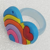 Plastic Rings, Heart 31x23mm, Sold by PC