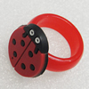 Plastic Rings, Ladybug 21x28mm, Sold by PC